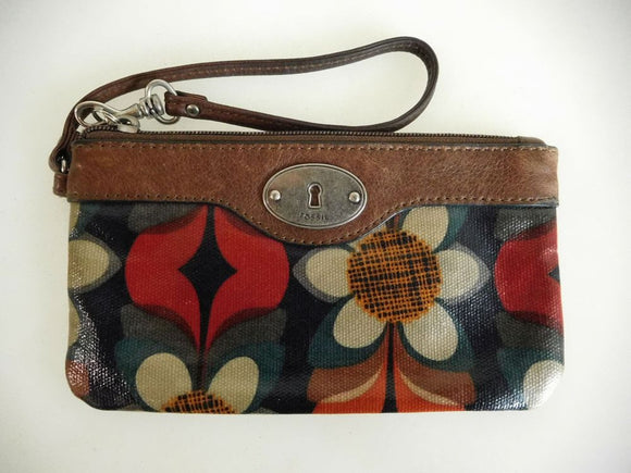 FOSSIL Key-Per Wristlet - Floral Pattern with Chocolate Brown Trim - Excellent Used Condition