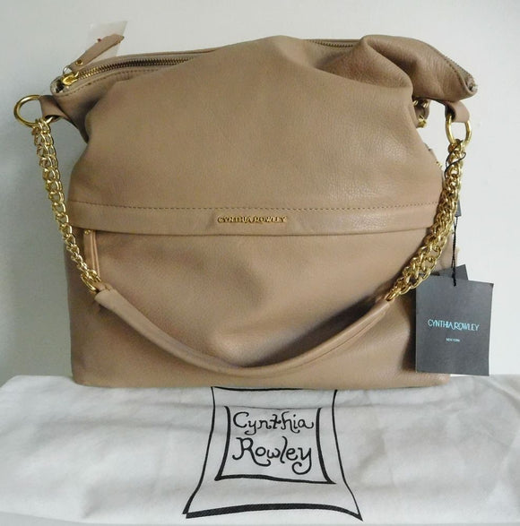 CYNTHIA ROWLEY Studded Taupe Tan Large Bucket Shoulder Bag w/Chain Detail - NEW