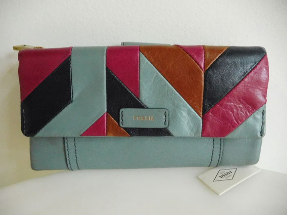 FOSSIL Patchwork Tab Checkbook Wallet in Slate Blue Navy Magenta & Brown - NWT