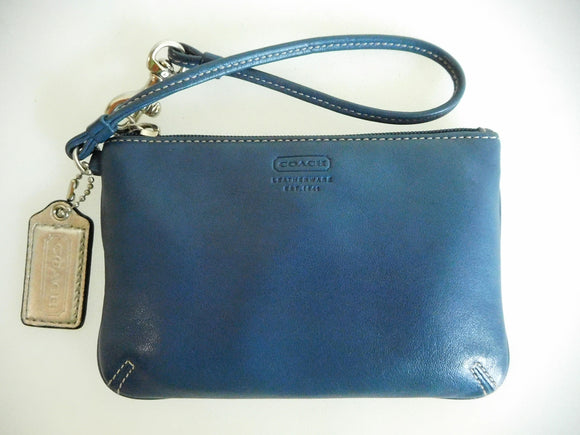 SOLD ON EBAY: Coach Indigo Blue Leather Wristlet - Excellent Condition