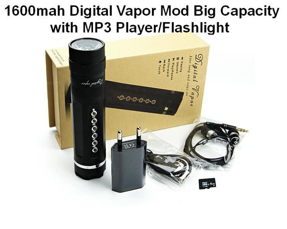 **50% OFF ORIGINAL PRICE**DIGITAL VAPOR (Simeiyue) 1600mah Digital Vape Mod Big Capacity w/MP3 Player, Flashlight - Black or Silver