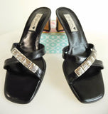 BRIGHTON Taylor Black Leather Slide Sandals Size 7.5 M - Made in Italy-Excellent