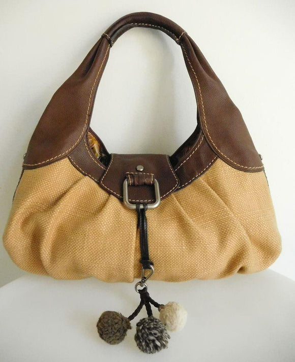 FOSSIL Brown Leather and Straw Hobo Handbag Shoulder Bag Tote w/Key Chain - NEW WITHOUT TAGS