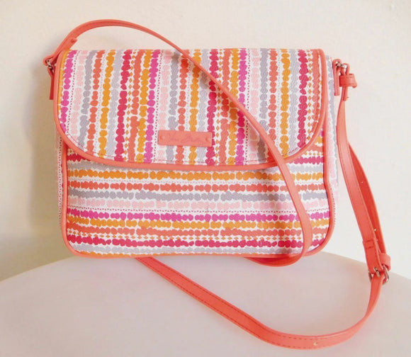 VERA BRADLEY Coated Canvas with Leather Trim Crossbody - Coral Pink - NEW WITHOUT TAGS