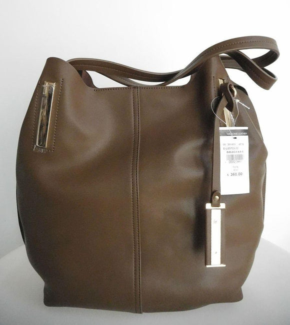 WILSONS LEATHER Mud Brown Tote Shoulder Bag Handbag - Large - Unlined - Retail $360 NEW WITH TAGS