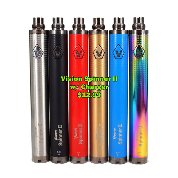 Vision Spinner II - Adjustable Voltage 1,650mah - 510 thread Battery - w/Charger