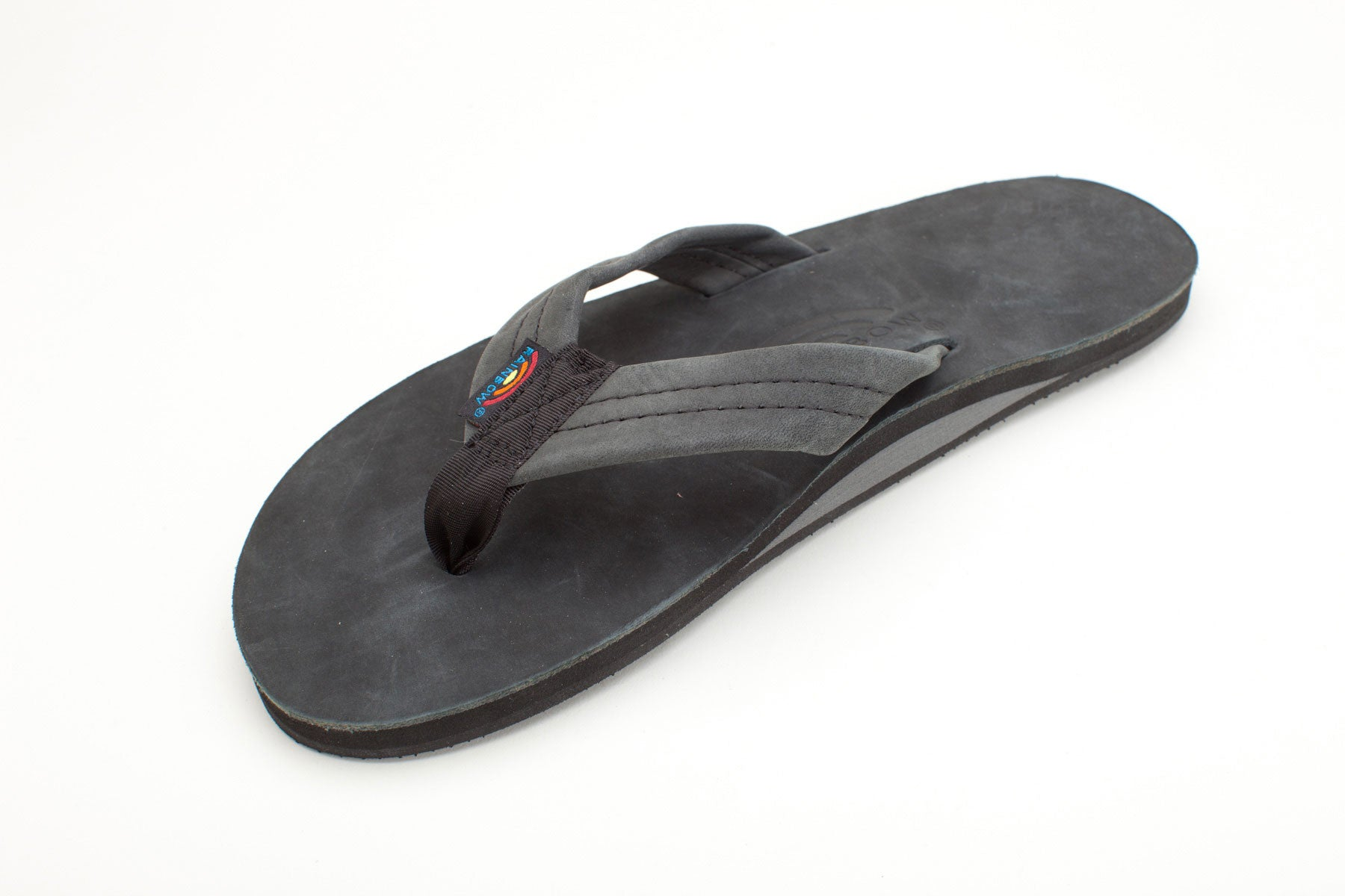 Rainbow Sandals Men's Black Premier Leather Single Layer with Arch Support