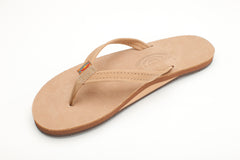 Rainbow Sandals Women's Sierra Brown Premier Leather Single Layer with Arch Support and a Narrow Strap