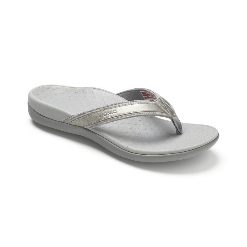 Vionic Women's Tide II Toepost Sandal in Pewter Metallic