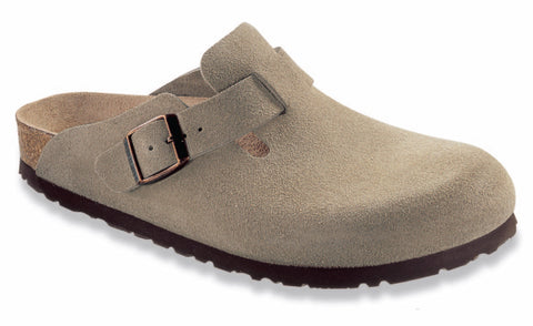 Birkenstock Women's Boston Soft Footbed in Taupe Suede