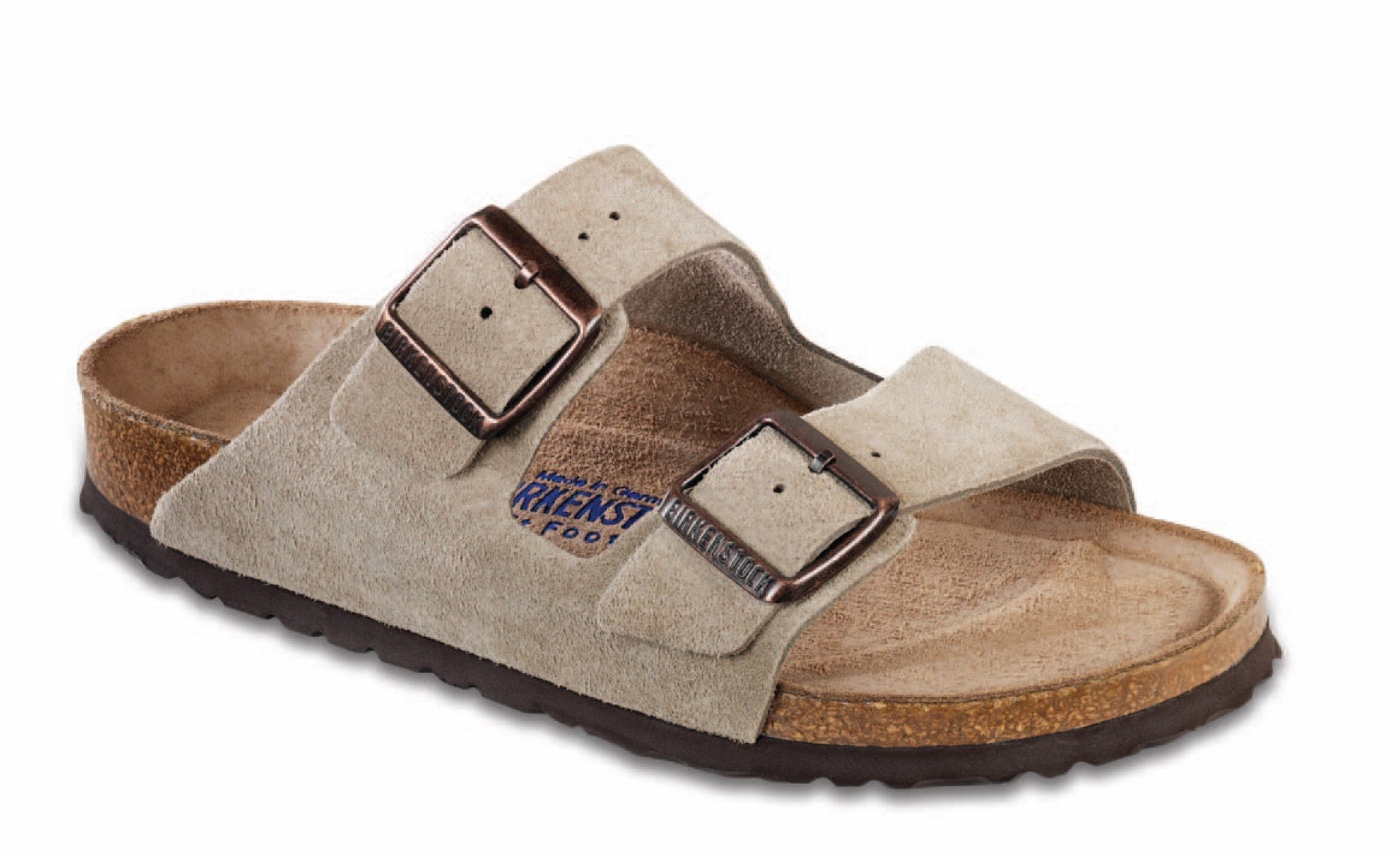 Birkenstock Women's Arizona Soft Footbed in Taupe Suede