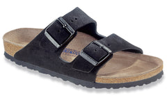 Birkenstock Women's Arizona Black Suede Soft Footbed Regular