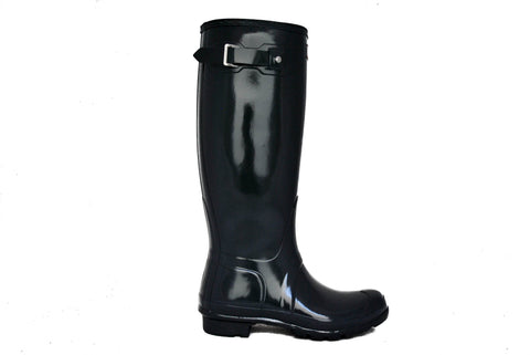 Hunter Women's Original Tall Gloss Rain Boot in Dark Slate