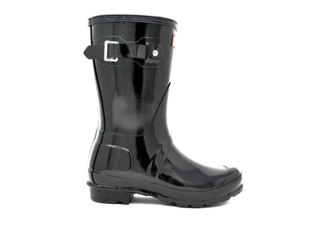 Hunter Women's Original Short Gloss Rain Boot in Black