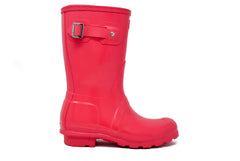 Hunter Women's Original Short Gloss Rain Boot in Bright Pink