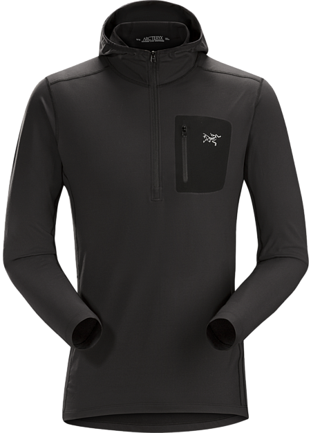 Arc'teryx Men's Rho LT Hooded Zip Neck in Black