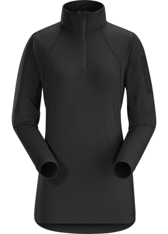 Arc'teryx Women's Rho LT Hooded Zip Neck in Black