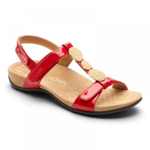 Vionic Women's Farra Sandal in Red Patent
