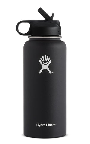 Hydro Flask 32 oz Wide Mouth with Straw Lid in Black