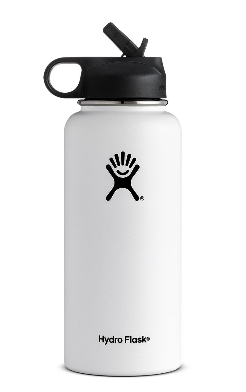 Hydro Flask 32 oz Wide Mouth with Straw Lid in White