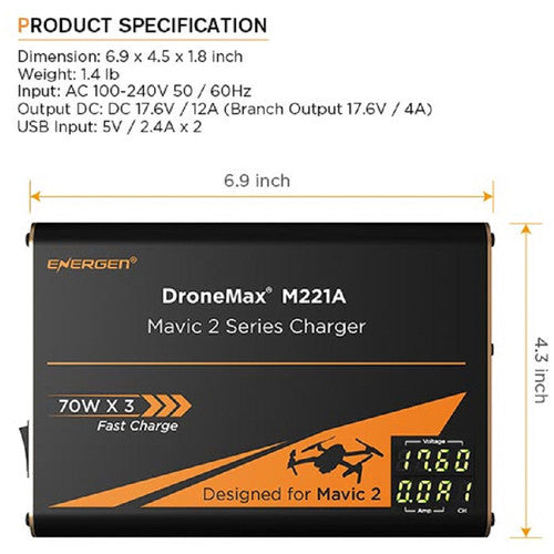 ENERGEN DroneMax M221A AC Battery Charger for DJI Mavic 2
