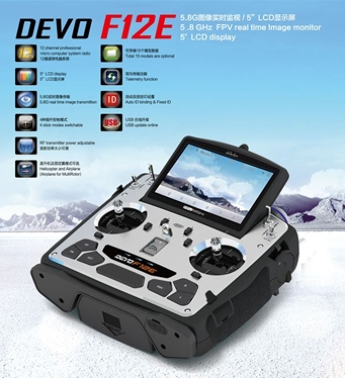 Walkera DEVO F12E 12-Channel 2.4Ghz Digital Radio System w/ FPV Monitor - Carolina Dronz - 1