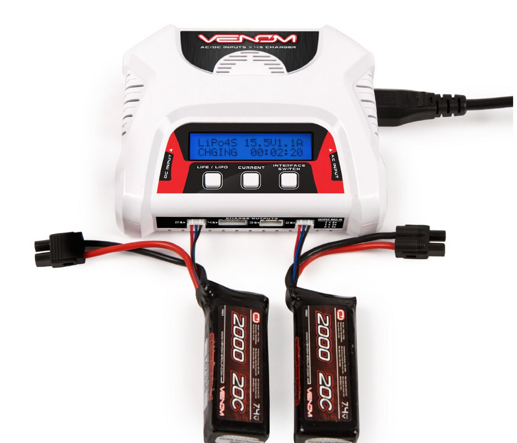 Venom 2-4 Cell AC/DC Dual LiPO Battery Balance Charger - Carolina Dronz - 3