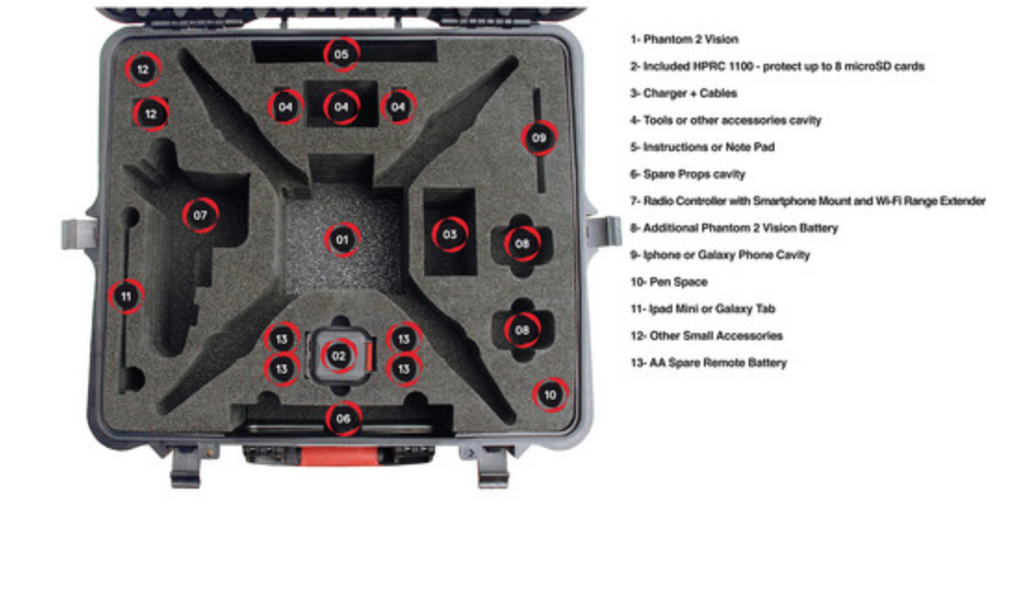 HPRC Hard Case for DJI Phantom 1/2 Vision / Vision+ with Wheels - Carolina Dronz - 5