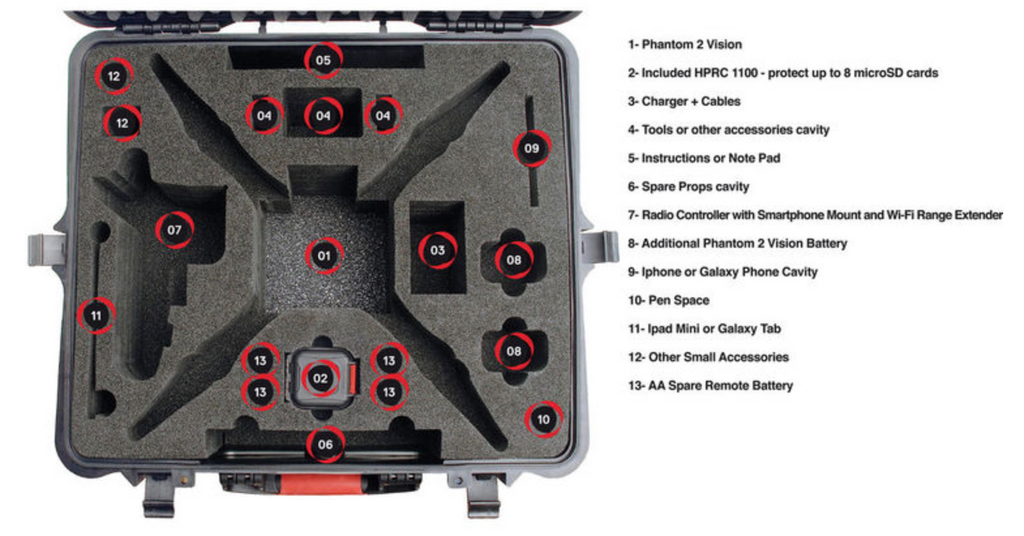 HPRC 2700PHA2 Hard Case for DJI Phantom 2 Vision / Phantom 2 Vision+ - Carolina Dronz - 5