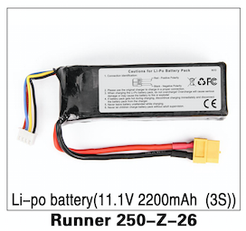 Walkera Runner 250 LIPO Battery 11.1V 2200 MAH (3S) - Carolina Dronz - 1