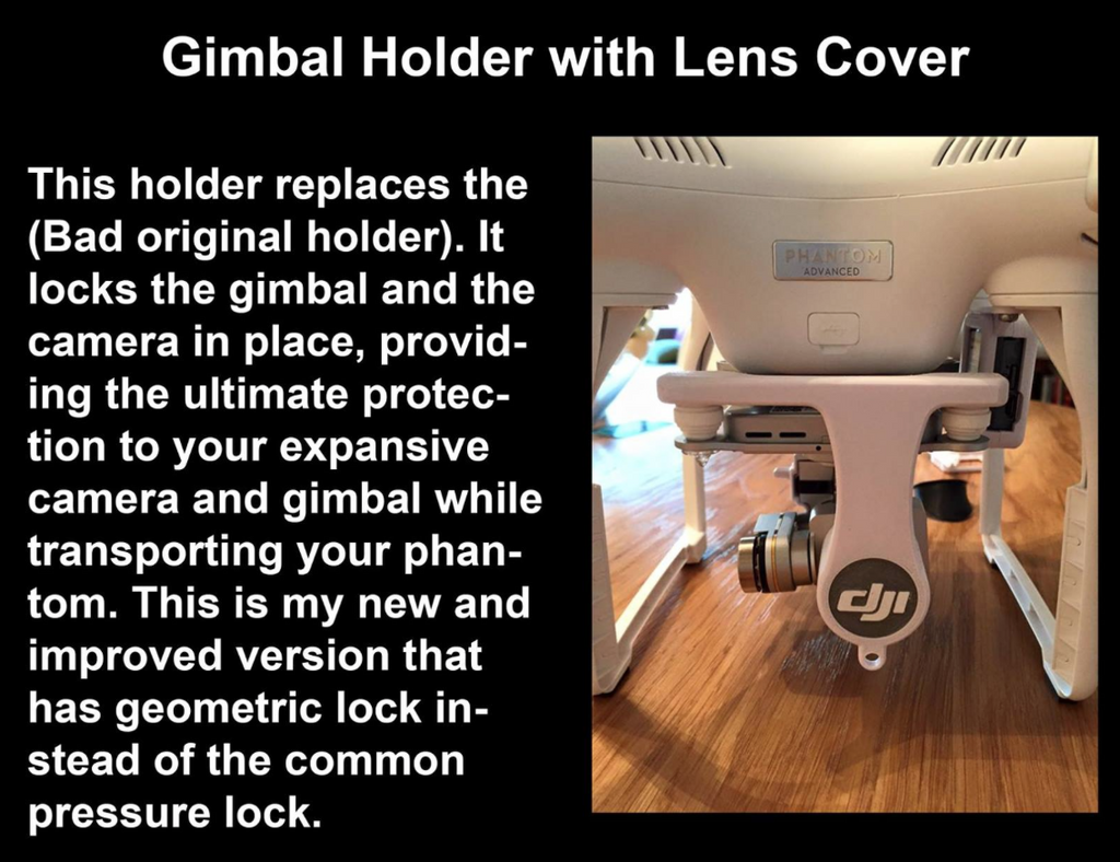 "Phantom 3 Gimbal Holder for ""Advanced"" or ""Professional"" FOR POLAR PRO Lenses - Carolina Dronz - 5"