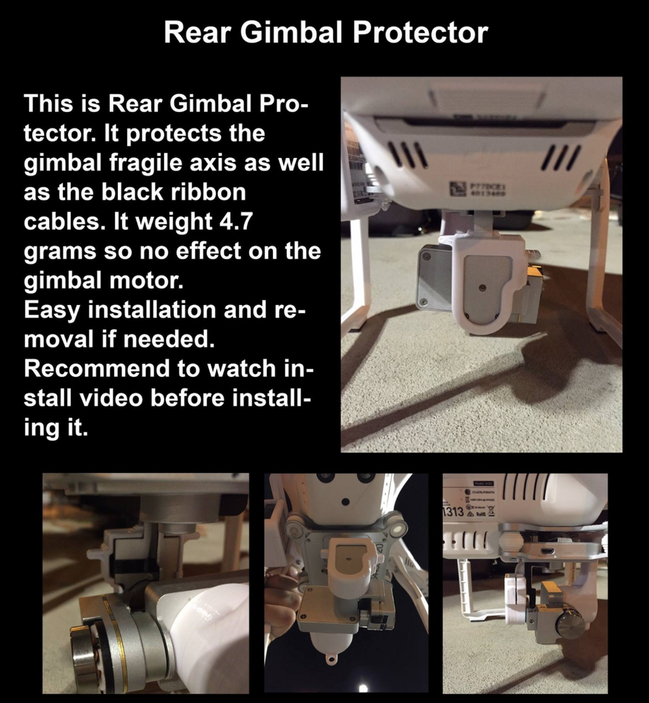 Phantom 3 Rear Gimbal Protector - Carolina Dronz