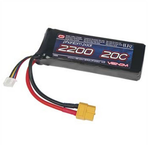 Venom 11.1V LiPo 2200mAh 20C Battery Pack with the XT60 Plug