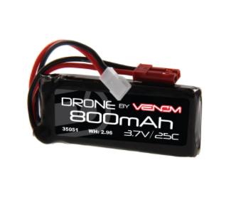 Venom 25C 1S 800mAh 3.7V LiPo Battery with Micro and JST Plugs - Carolina Dronz