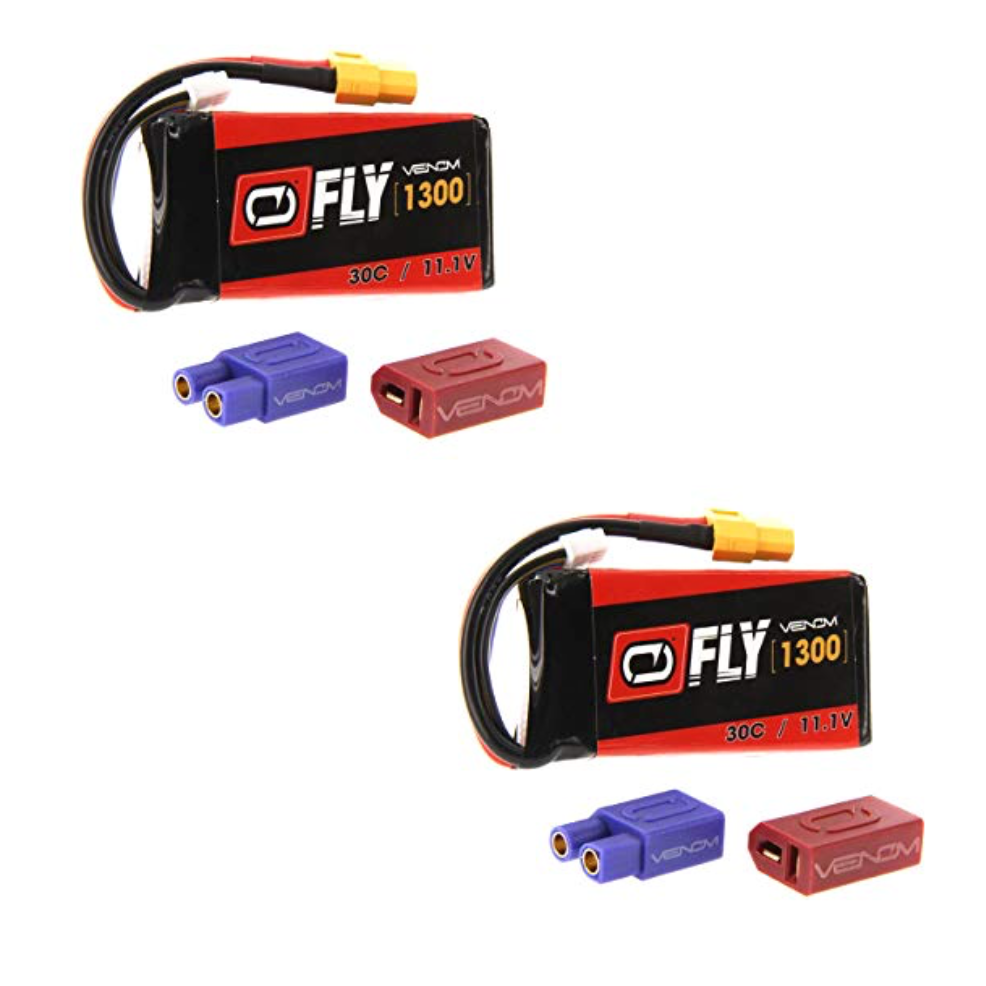 Venom Fly 30C 2S 1300mAh 11.1V LiPo Battery with UNI 2.0 Plug x2 Packs