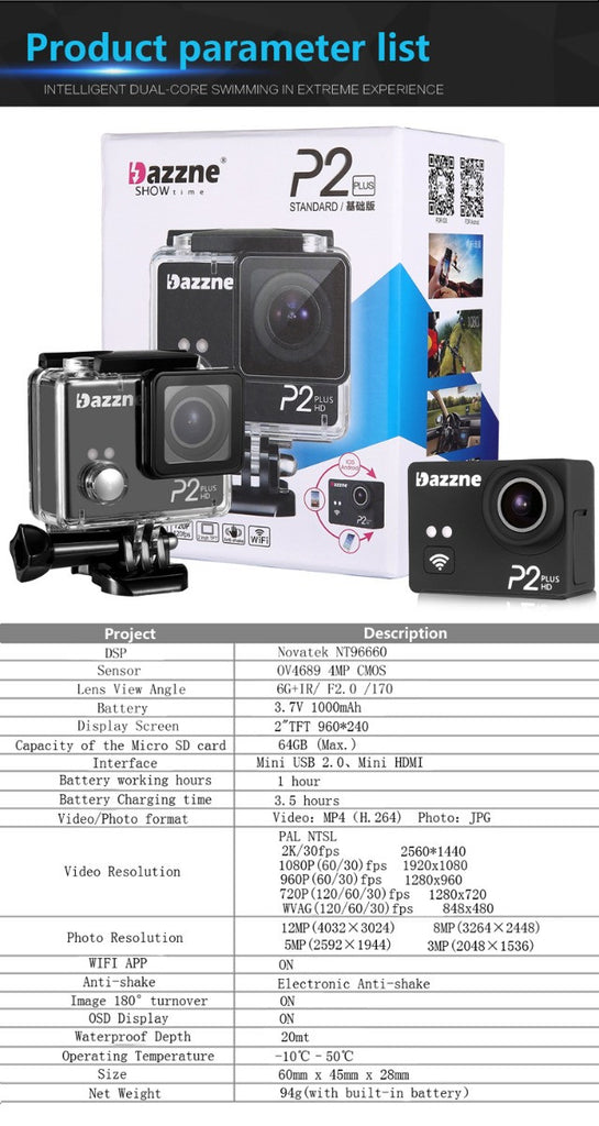Dazzne P2 PLUS Sports Camera 2K30 1080P60 WIFI - Carolina Dronz - 17