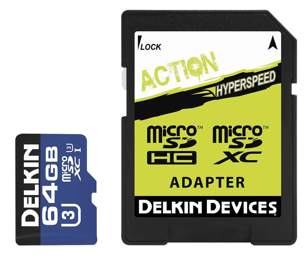 Delkin Devices Action Hyperspeed 64GB Micro SD Card and Adapter