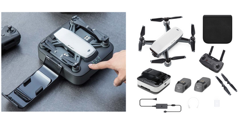 DJI SPARK Compact Mini Drone Platinum Combo with 2 Batteries