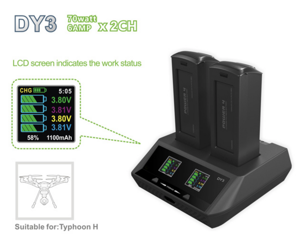Yuneec EVPEAK Dual Charger for Typhoon H Battery, DY3
