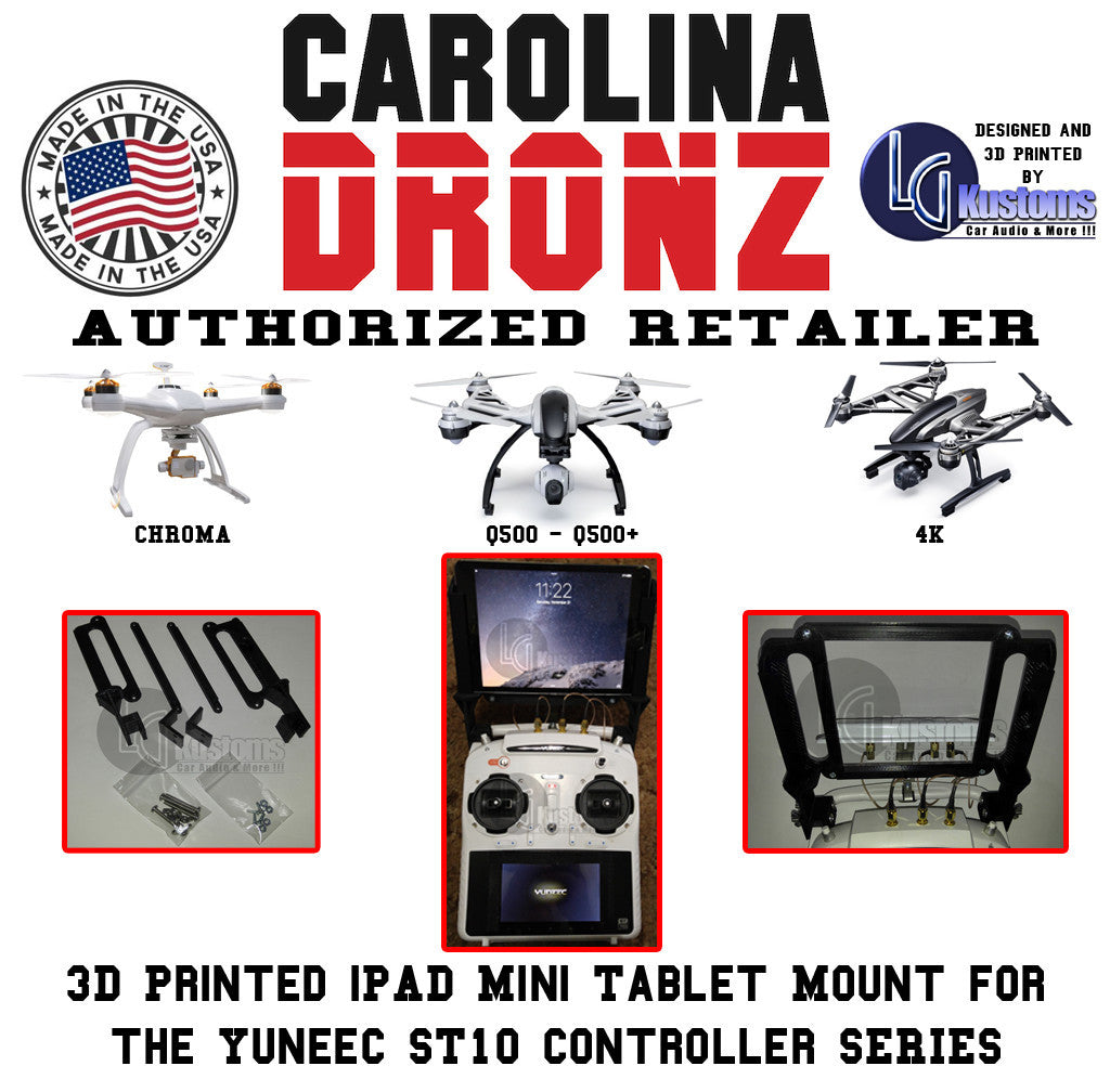 Yuneec 3D Printed iPAD Mini Tablet Mount for the Yuneec ST10 Controller Series - Carolina Dronz - 5