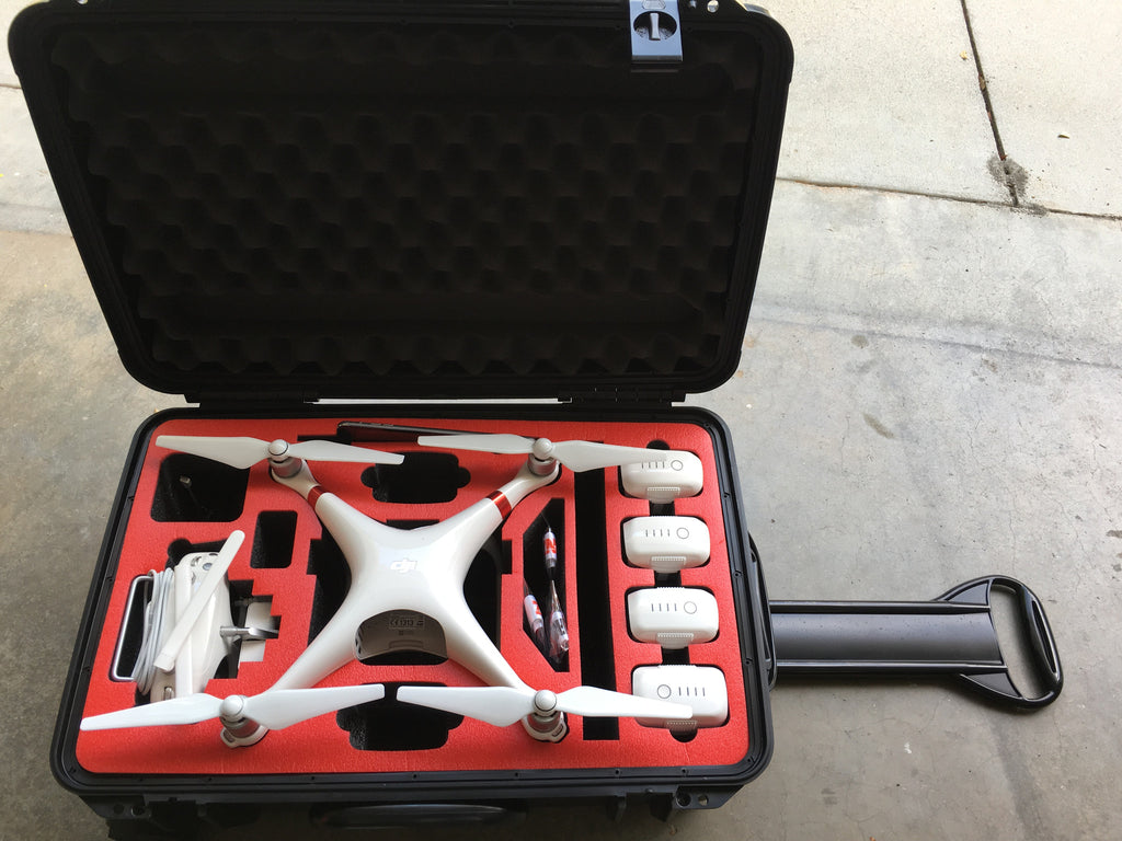 DJI Phantom 4 Props On Rolling Carrying Case Variety Colors - Carolina Dronz - 3