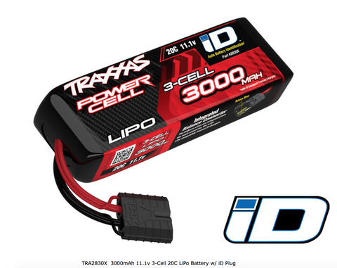 Traxxas 3000mAh 11.1v 3-Cell 20C LiPo Battery w/ iD Plug - Carolina Dronz