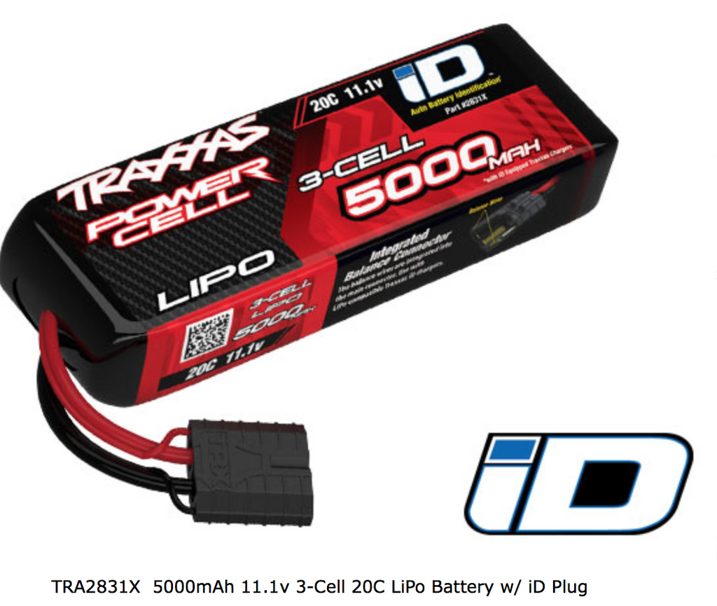 Traxxas 5000mAh 11.1v 3-Cell 20C LiPo Battery w/ iD Plug - Carolina Dronz
