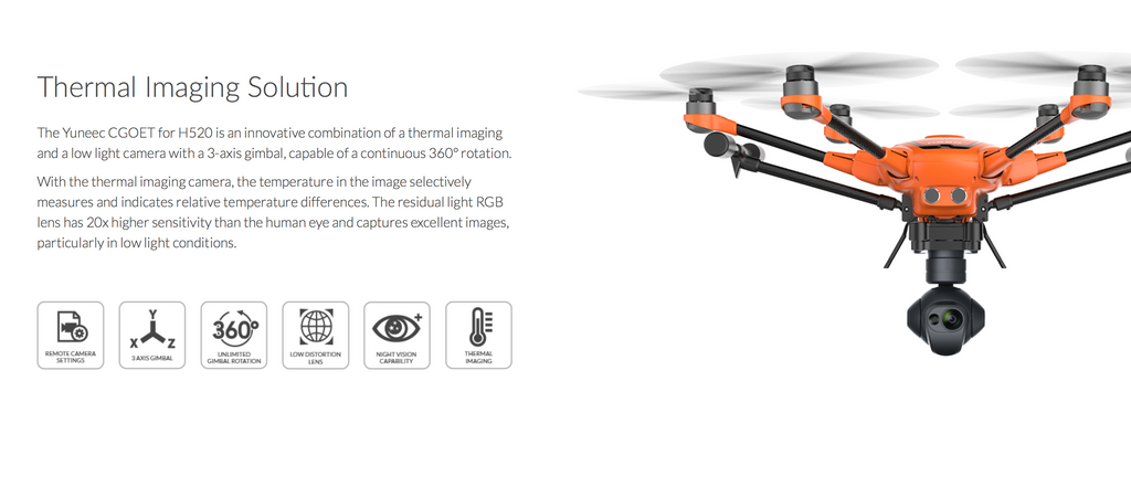 Yuneec CGO-ET, Thermal Dual Camera Only for H520 Commercial UAV