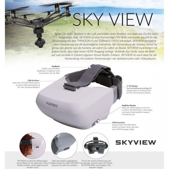 Yuneec SKYVIEW HD FPV, Goggles with HDMI - Carolina Dronz - 9