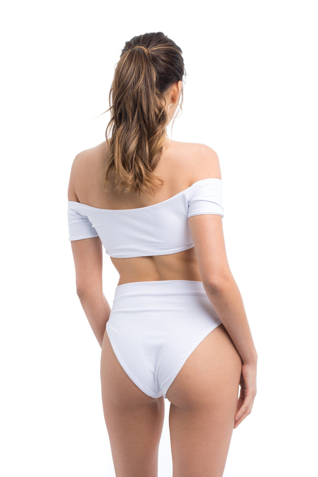 Baby Beach High Rise Bottoms - White Ribbed