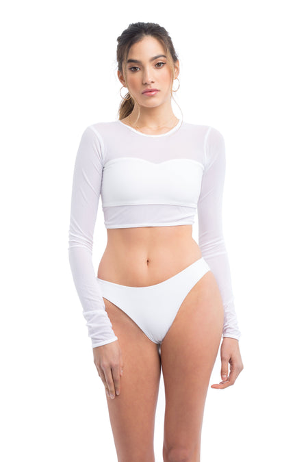 Elle Mer Swim Embroidered Logo Sweater - White / Black