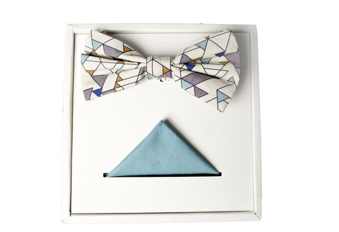 BOW TIE SET - CREAM GEO PRINT AND TEAL POCKET SQUARE