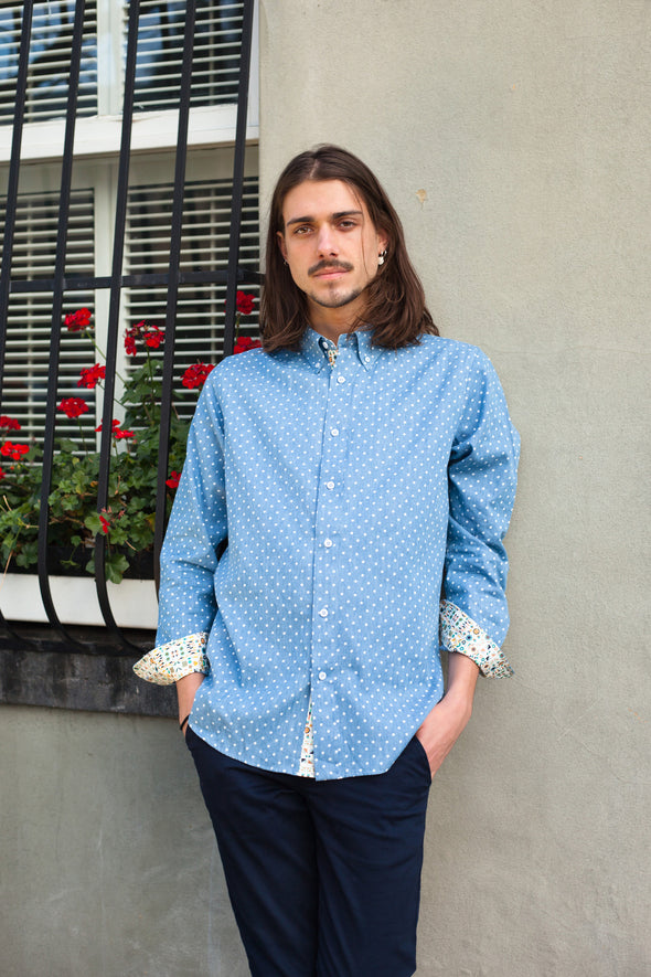 RELAXED OXFORD SHIRT IN CHAMBRAY DOT PRINT