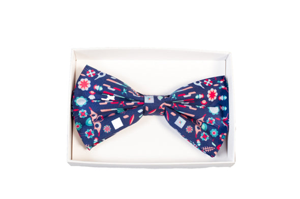 BOW TIE IN  BLUE BIRD PRINT